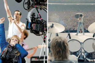 Polly Bennett e Rami Malek sul set di Bohemian Rhapsody