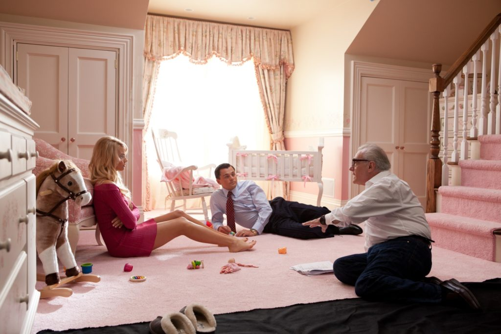 Margot Robbie, Leonardo DiCaprio e Martin Scorsese sul set di The wolf of Wall Street